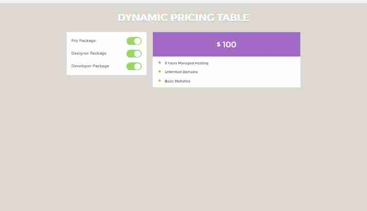 Dynamic Pricing Table