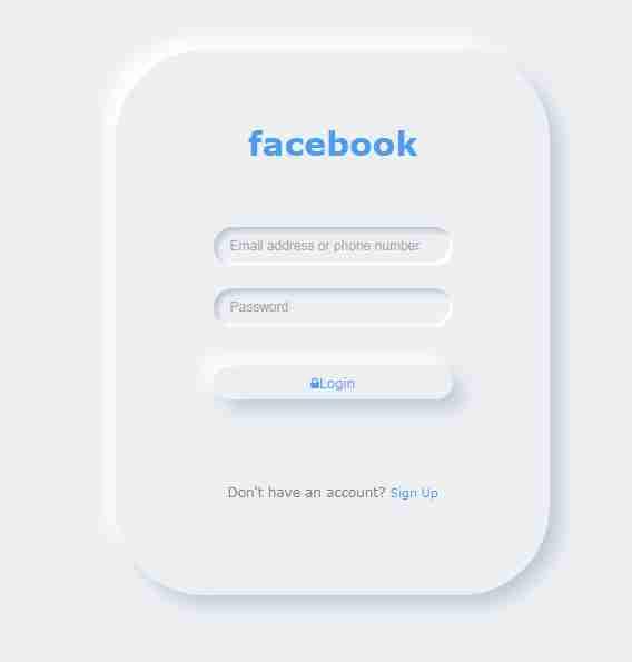 Facebook Login Form using HTML CSS
