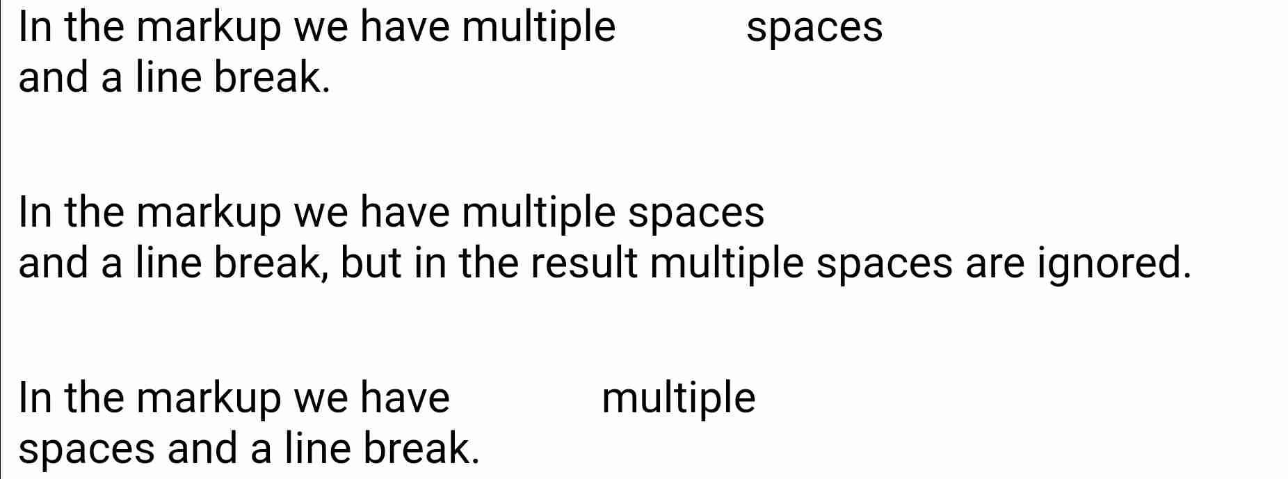 The white-space Values