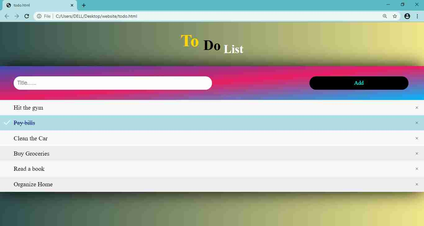 Todo list using html css and js