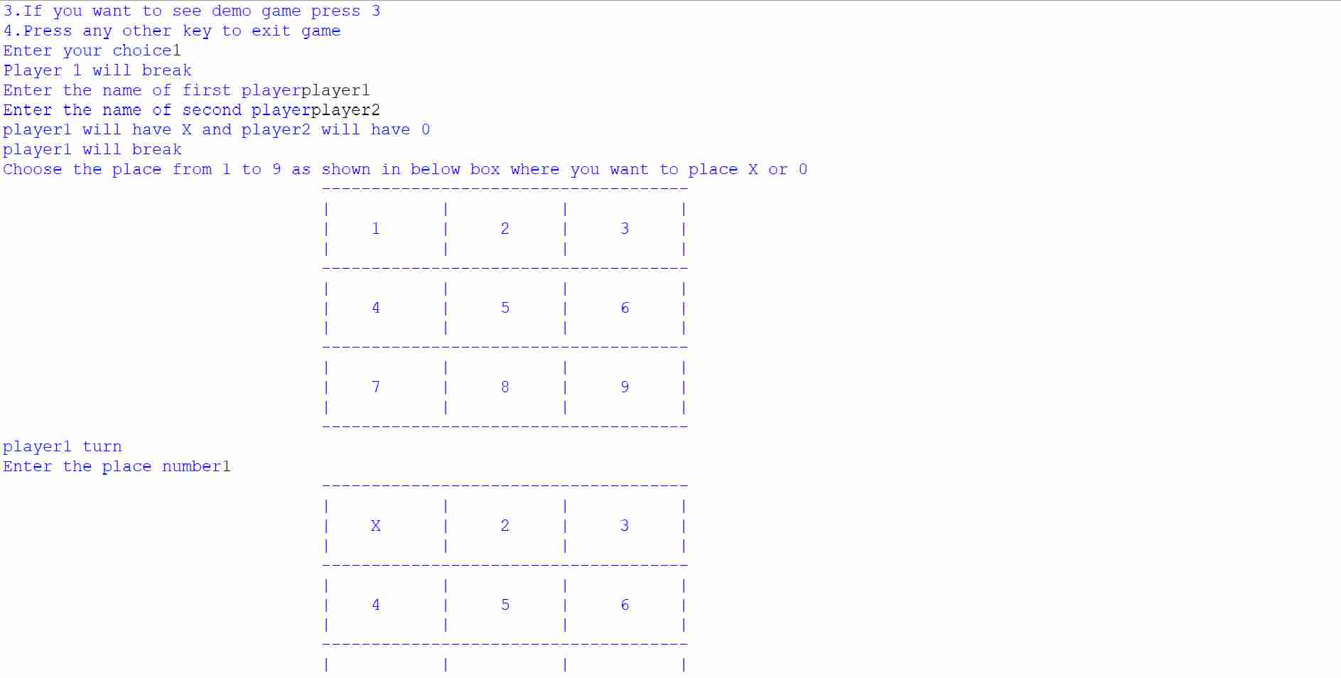Tic-Tac-Toe game using python