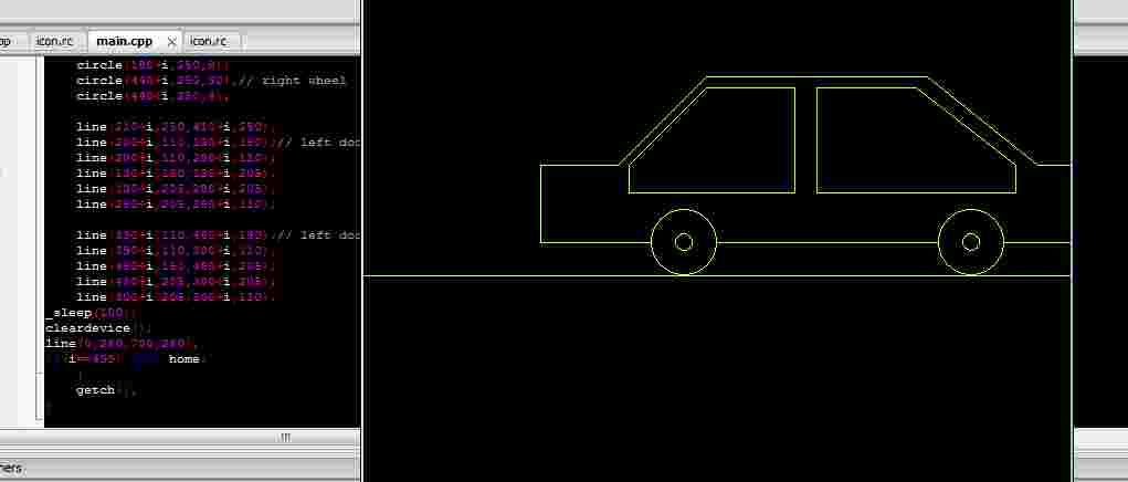 Moving Car in C programming language