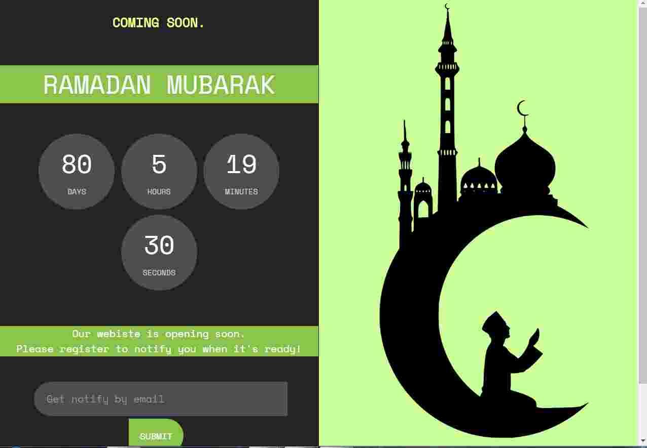 Ramadan Coming Soon  use html , css and js