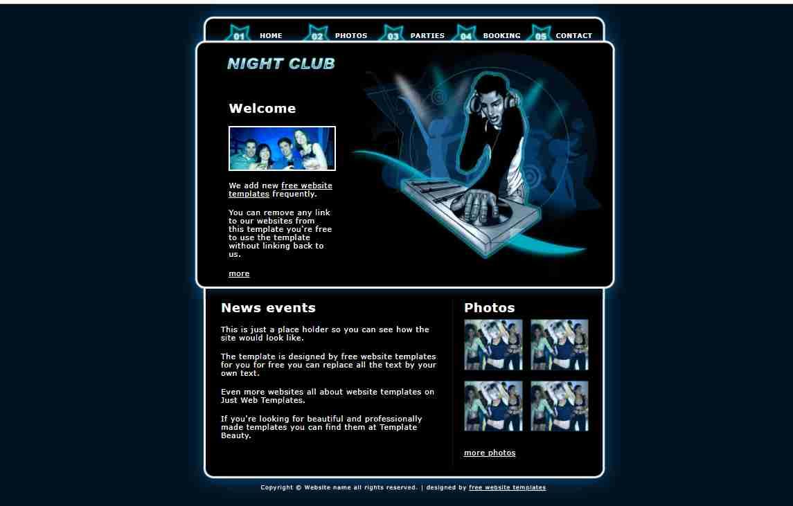 Night Club Disco Night Club HTML/CSS Miami Reuben Curtis