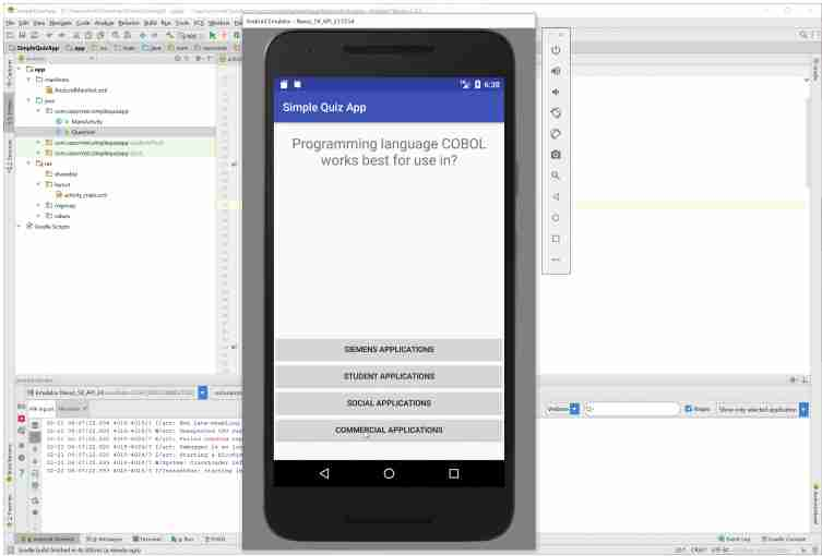 Downloading Android Simple Quiz App Tutorial with Source Code Code