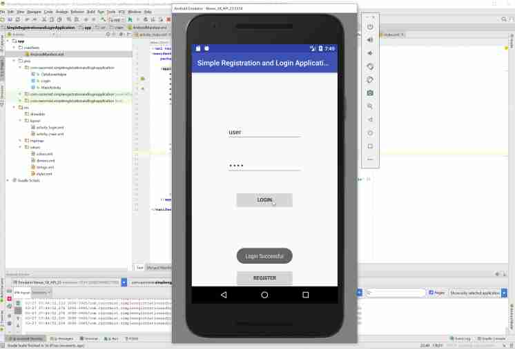 Android Simple Registration and Login Application  with Source Code Code