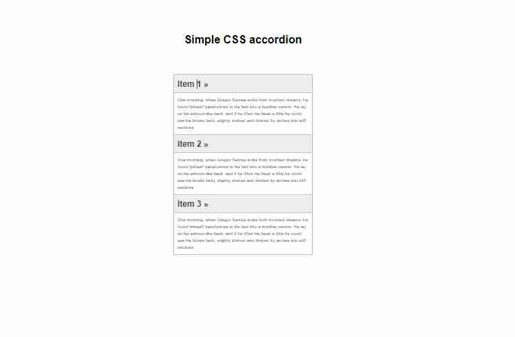 Accordion with HTML5 and CSS | No Javascript No JQuery