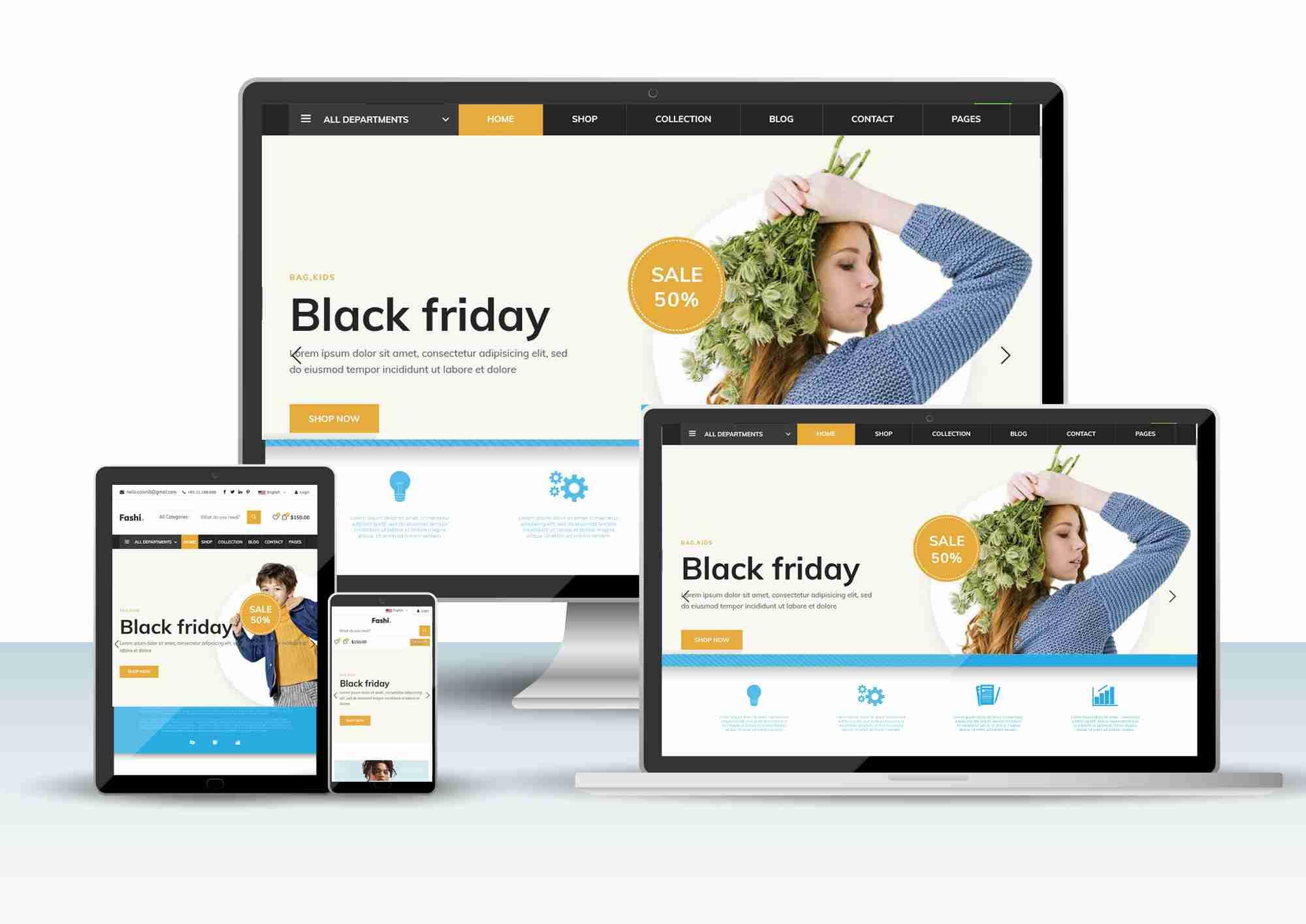 FREE FULL E-COMMERCE RESPONSIVE WEBSITE