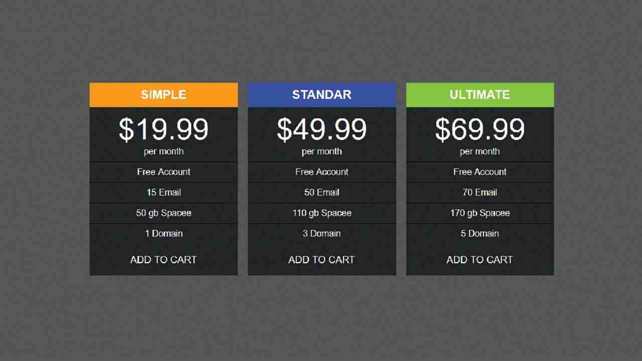 how to make pricing table with html & css