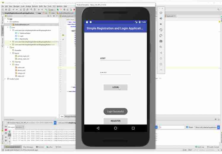 Android Simple Registration and Login Application  with  free Source Code