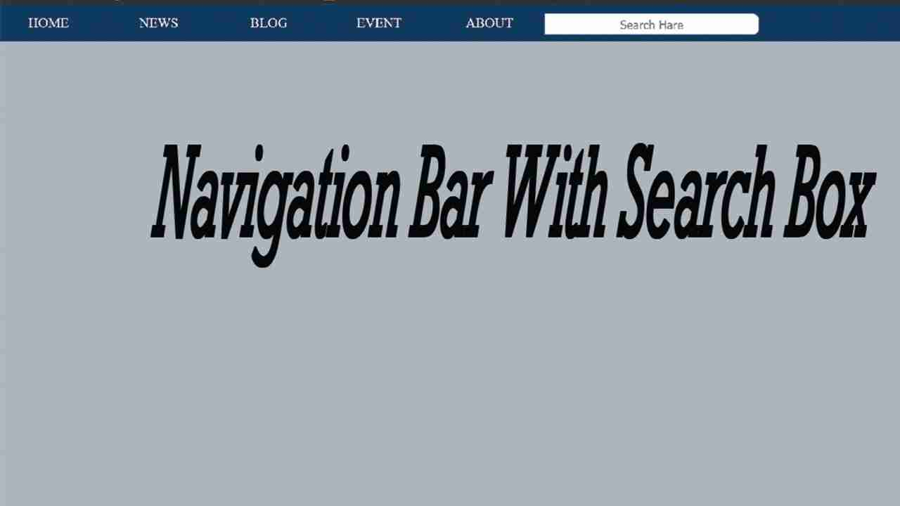 How To Create Navigation Bar With Search Box