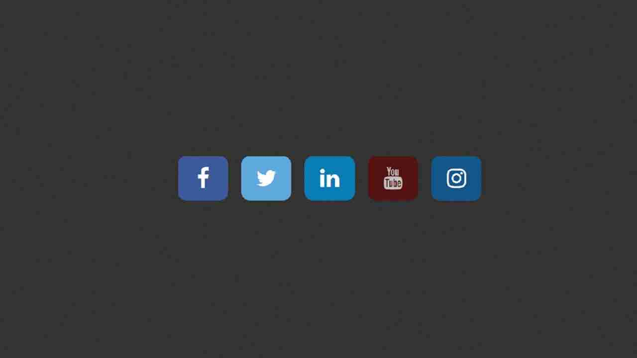Social media buttons with amazing hover effect using html & css