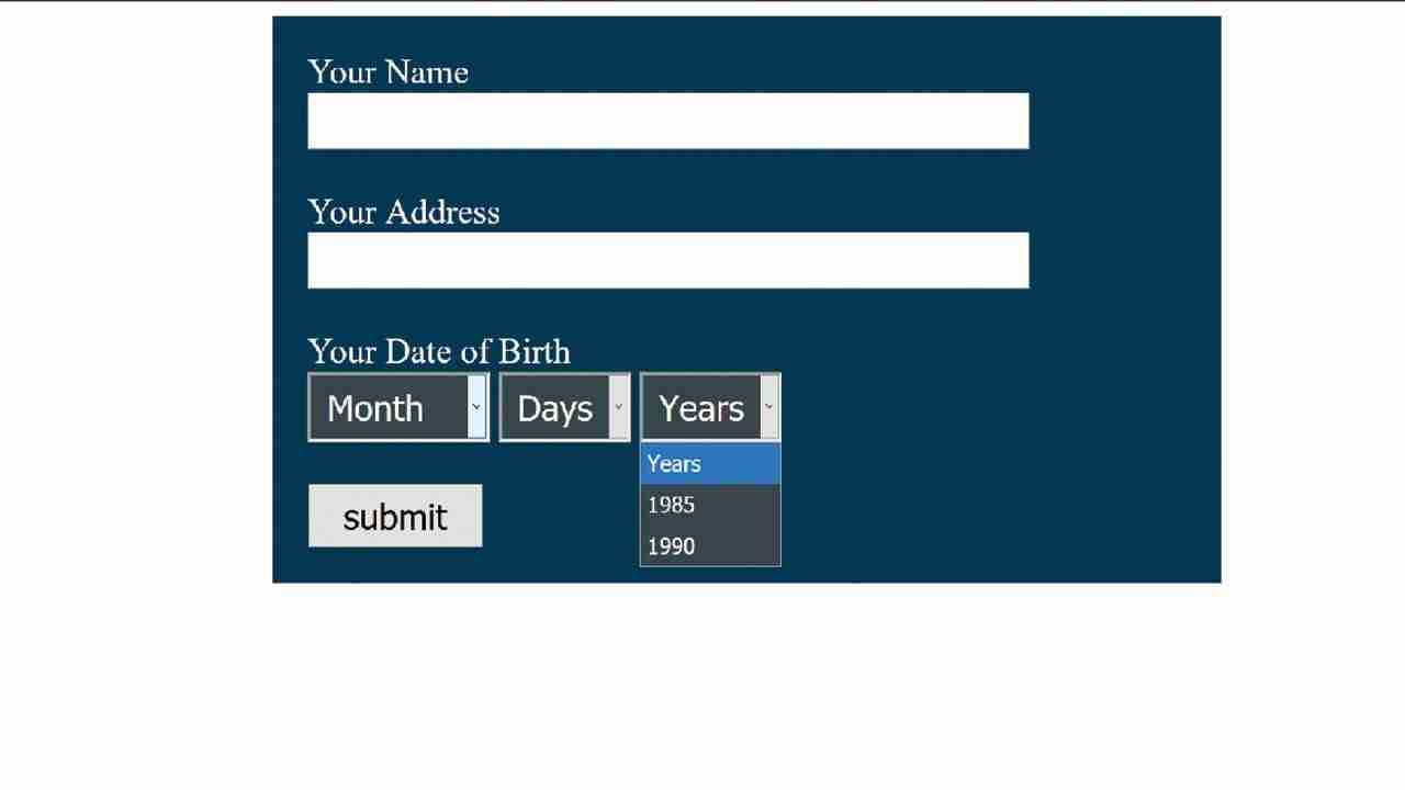 how to create  date of birth form with html css
