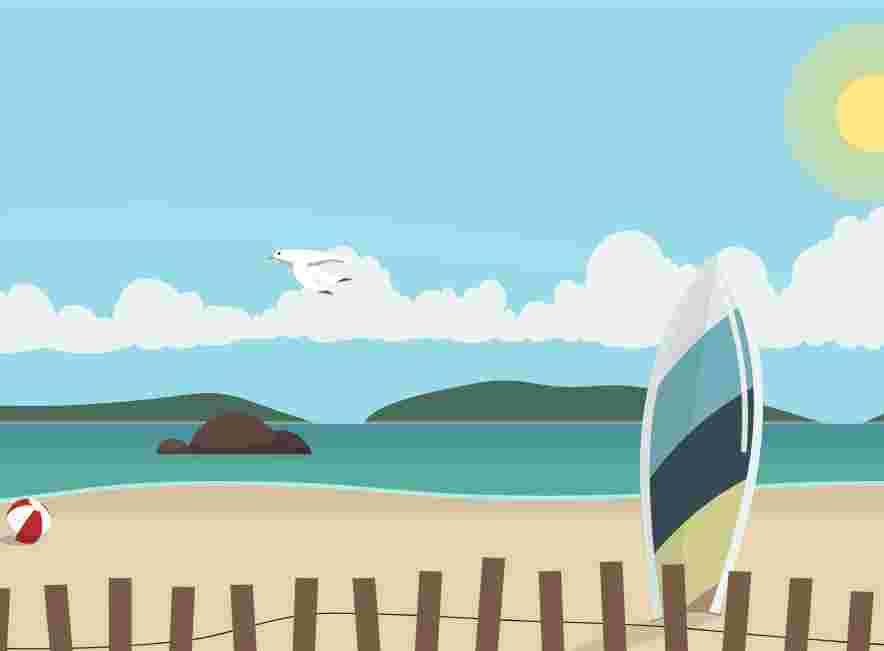 animated saw beach. look like real saw view