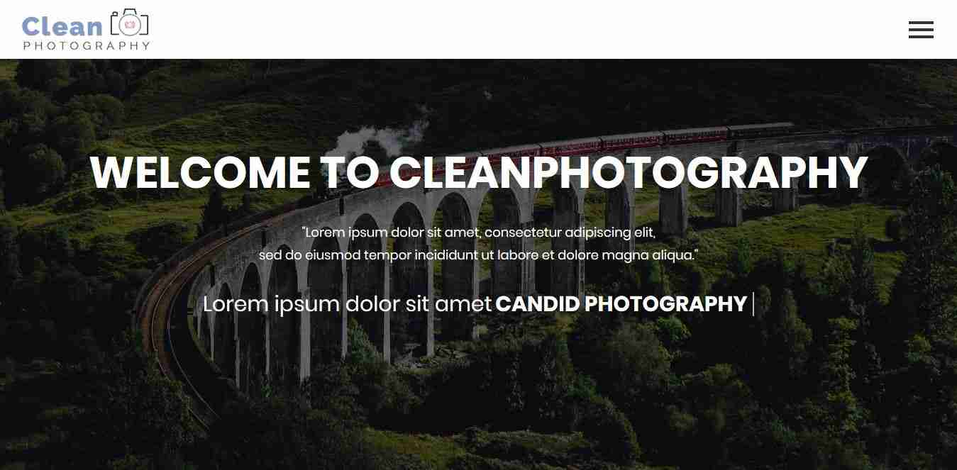 Free Clean Photography website and Customise template