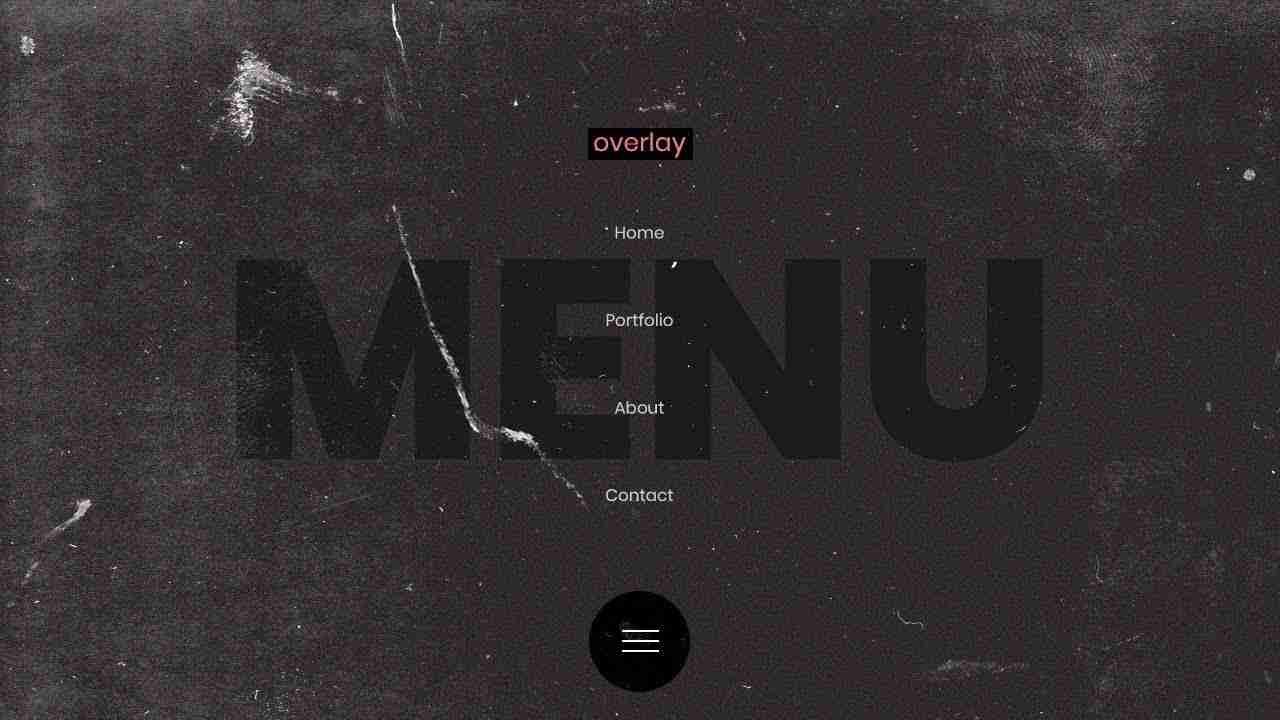 Responsive Overlay Navigation With Grains | HTML, CSS & JAVASCRIPT