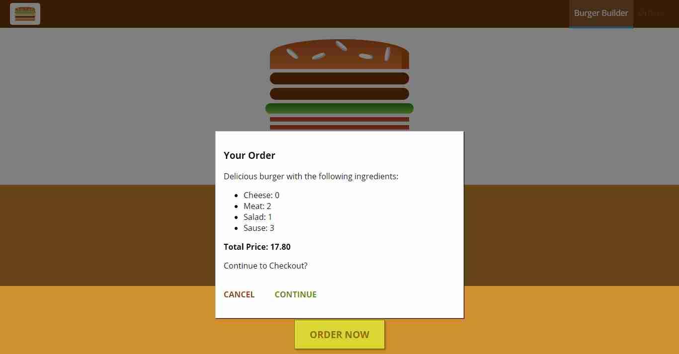 Burger builder application