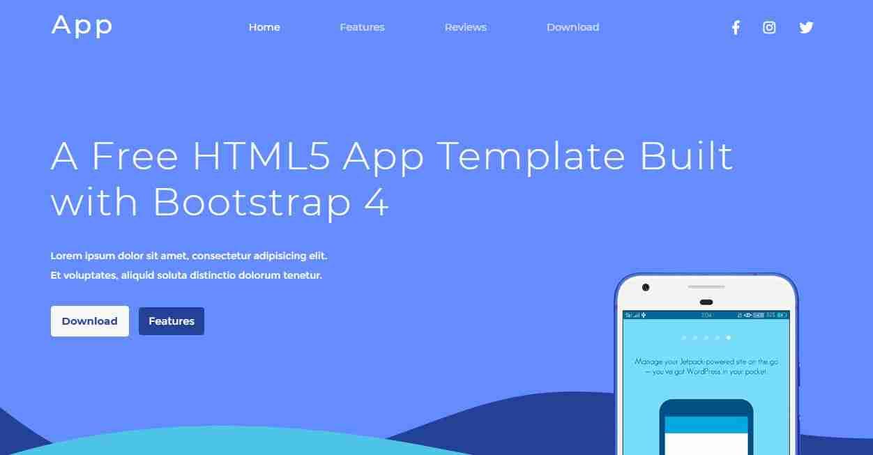 App Landing Page Website Template. Free Download