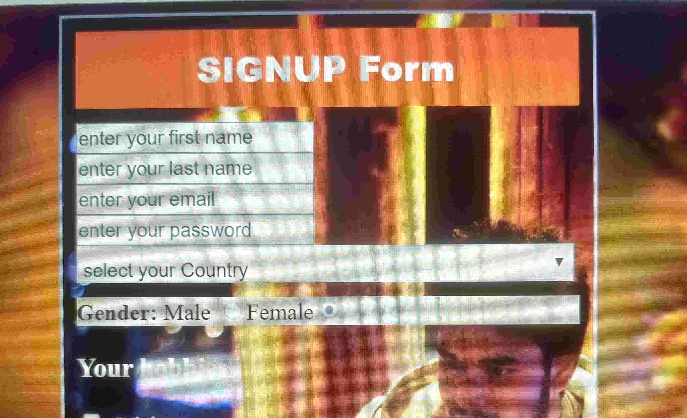 This is about signup form by the Html and css!