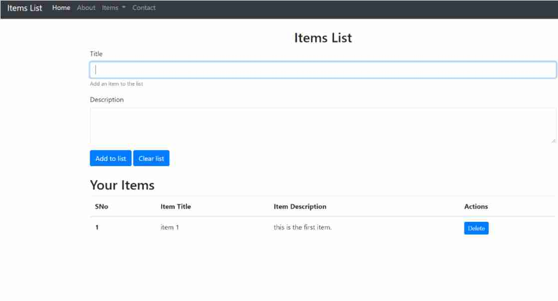 ITEM LIST IN JAVASCRIPT WITH SOURCE CODE