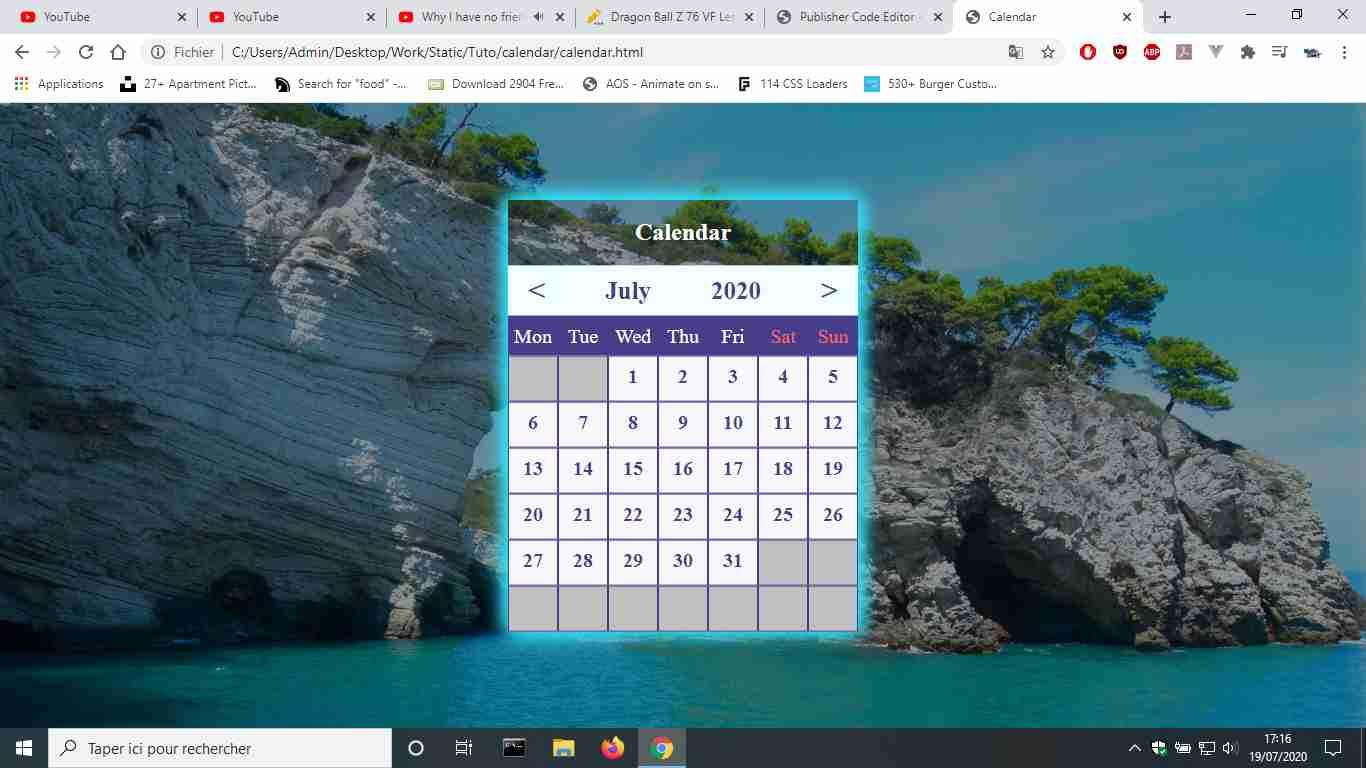 Dynamic Calendar (Javascript)