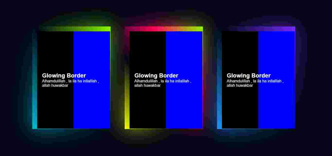 Glowing Gradient Border Card UI Design html & css