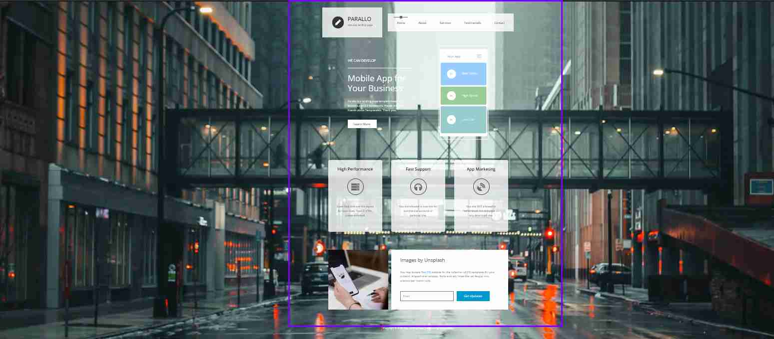 parallax website design with html and css