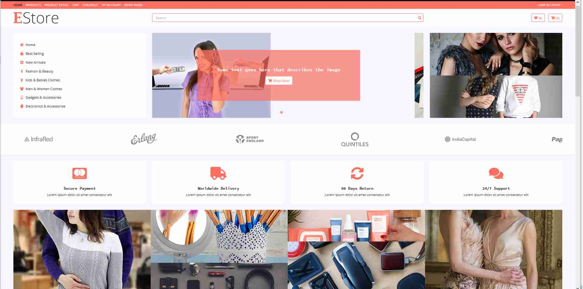 E strore Online Store E-commerce Responsive Website Using HTML/CSS
