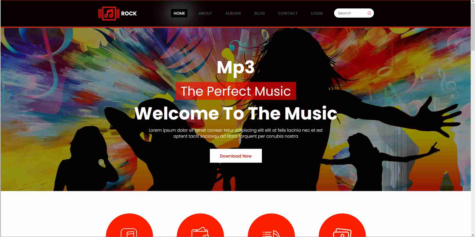 Musical website design in html and css3