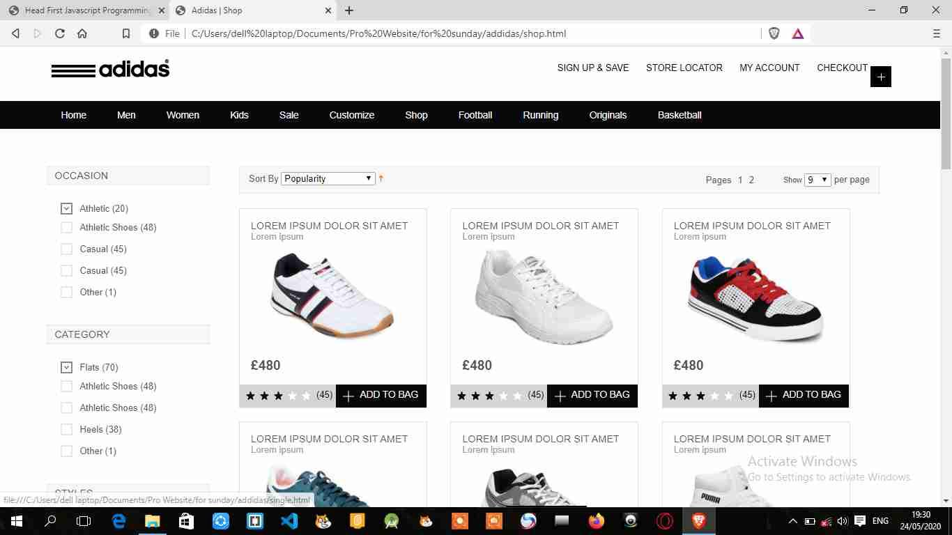 Sport shoes website templates