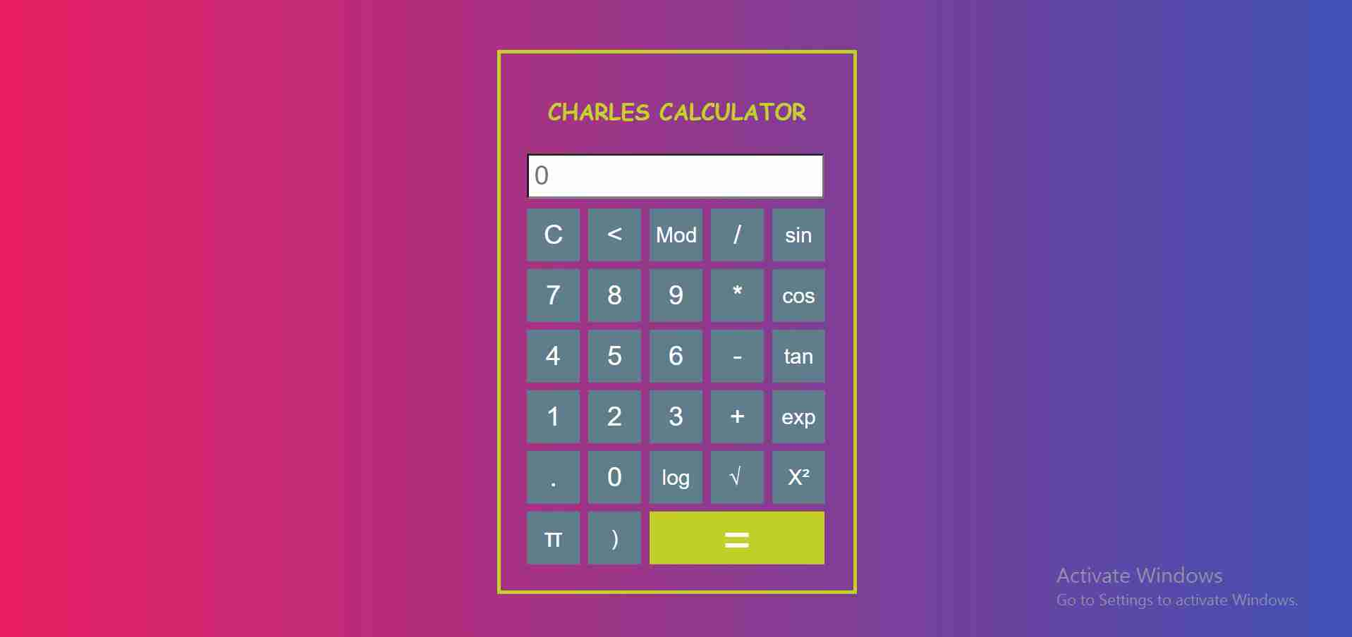 Calculator with javascript
